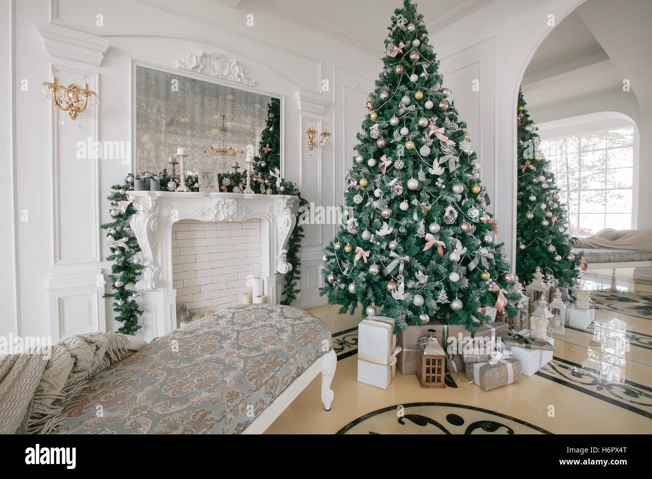 Christmas morning. classic luxury apartments with a white ...