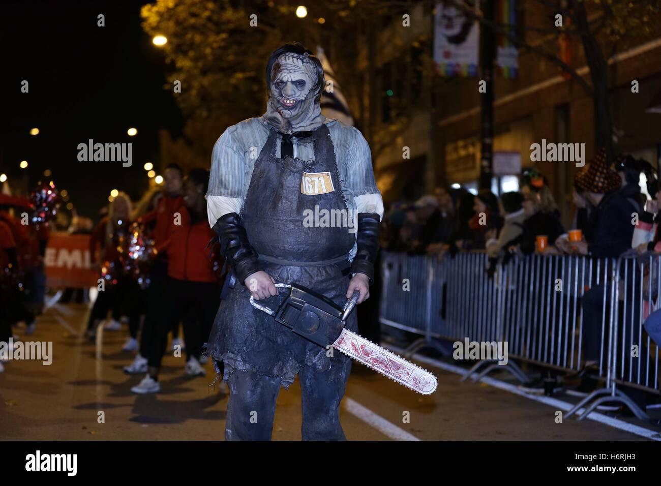 Chicago, USA. 31st Oct, 2016. A man attends a Halloween parade at ...