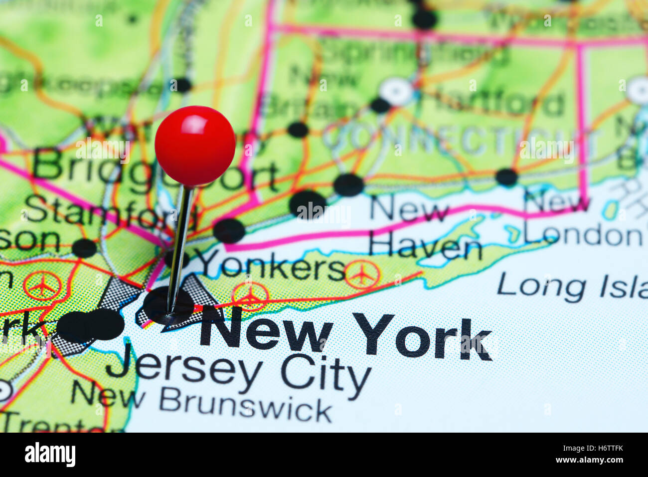 New York Pinned On A Map Of USA Stock Photo Royalty Free Image - New york on the map of usa