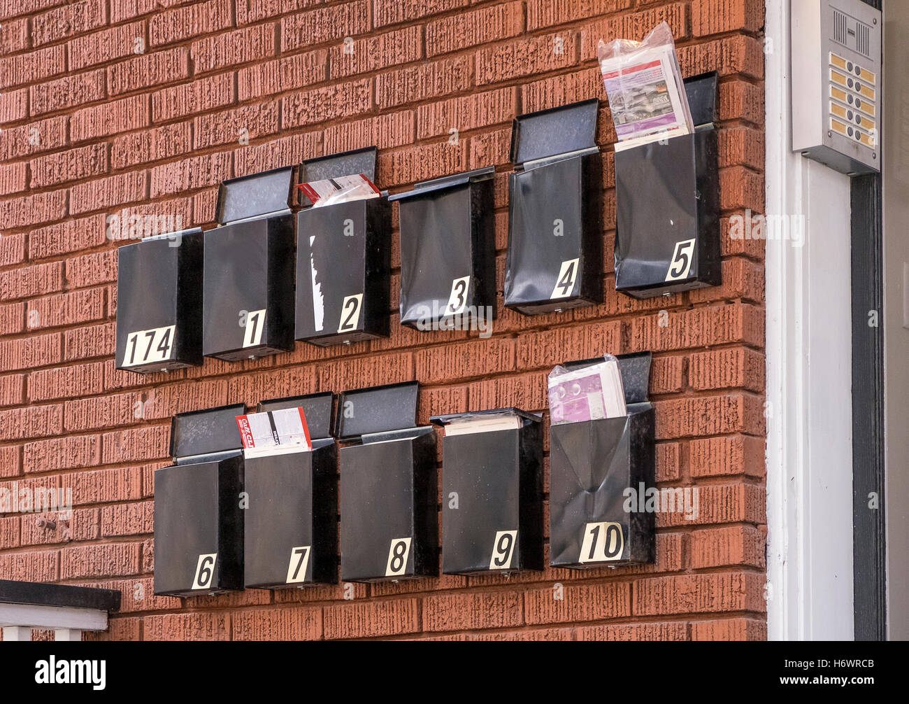 Apartment Building Mailboxes black metal mailboxes hang on a red brick wall outside an