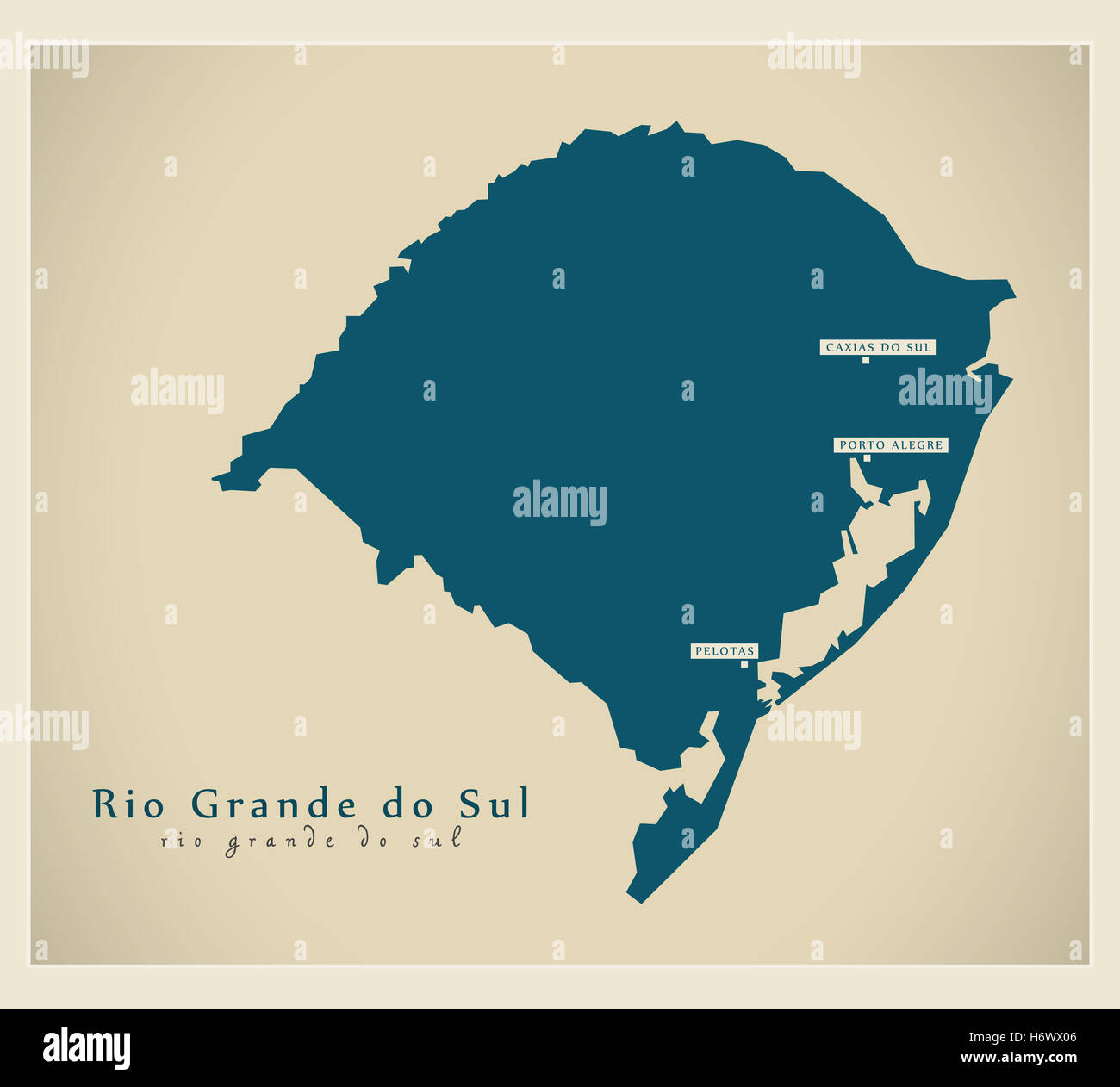Modern Map  Rio Grande do Sul BR Stock Photo Royalty Free Image