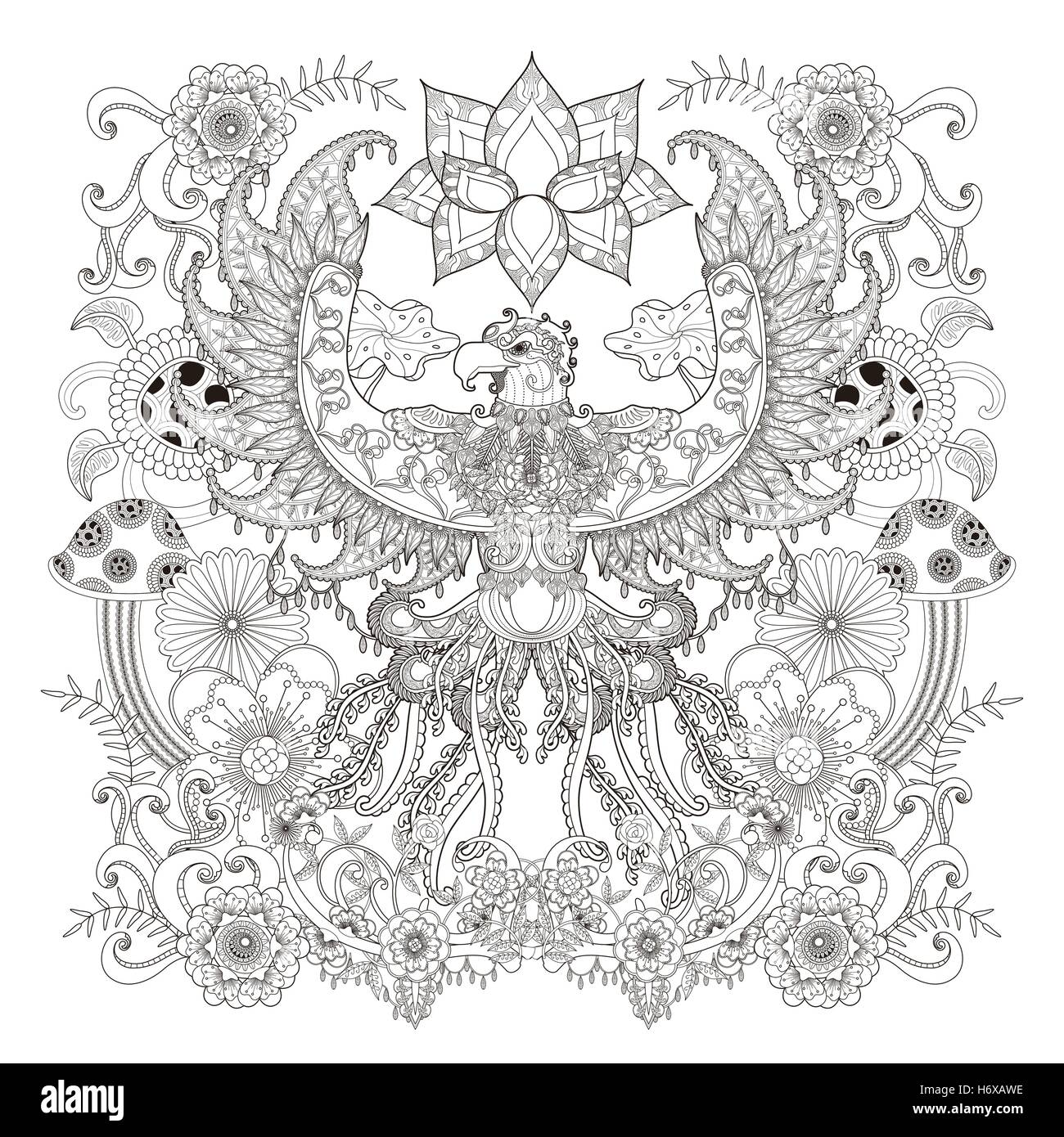 Stress relief coloring pages - Majestic Eagle Adult Coloring Page Open Wings Eagle With Floral Elements Decoration Stress Relief Page For Coloring