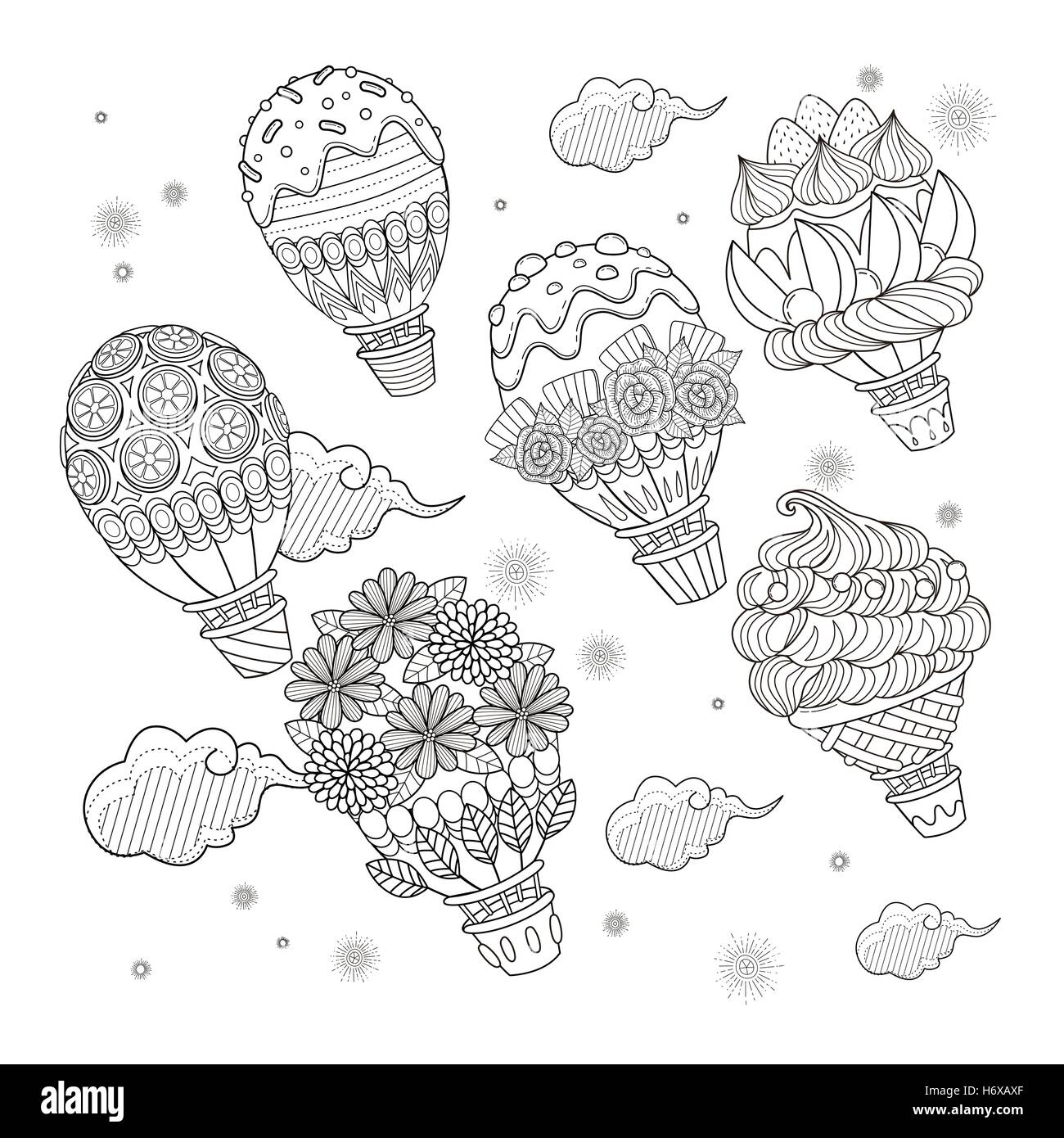Hot air balloon adult coloring page, lovely sweets decoration hot ...