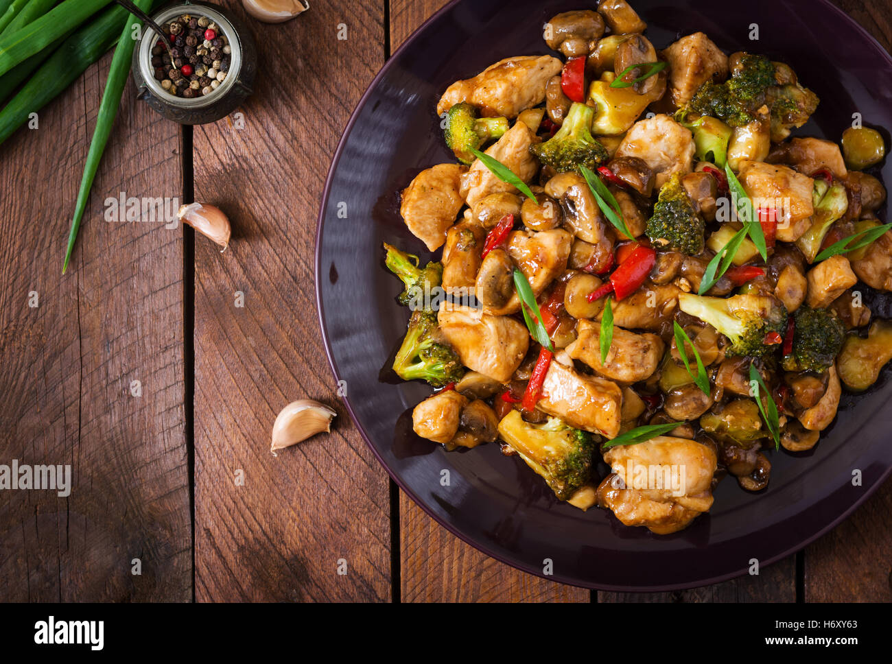 Stir Fry With Chicken Mushrooms Broccoli And Peppers Chinese Food Top View