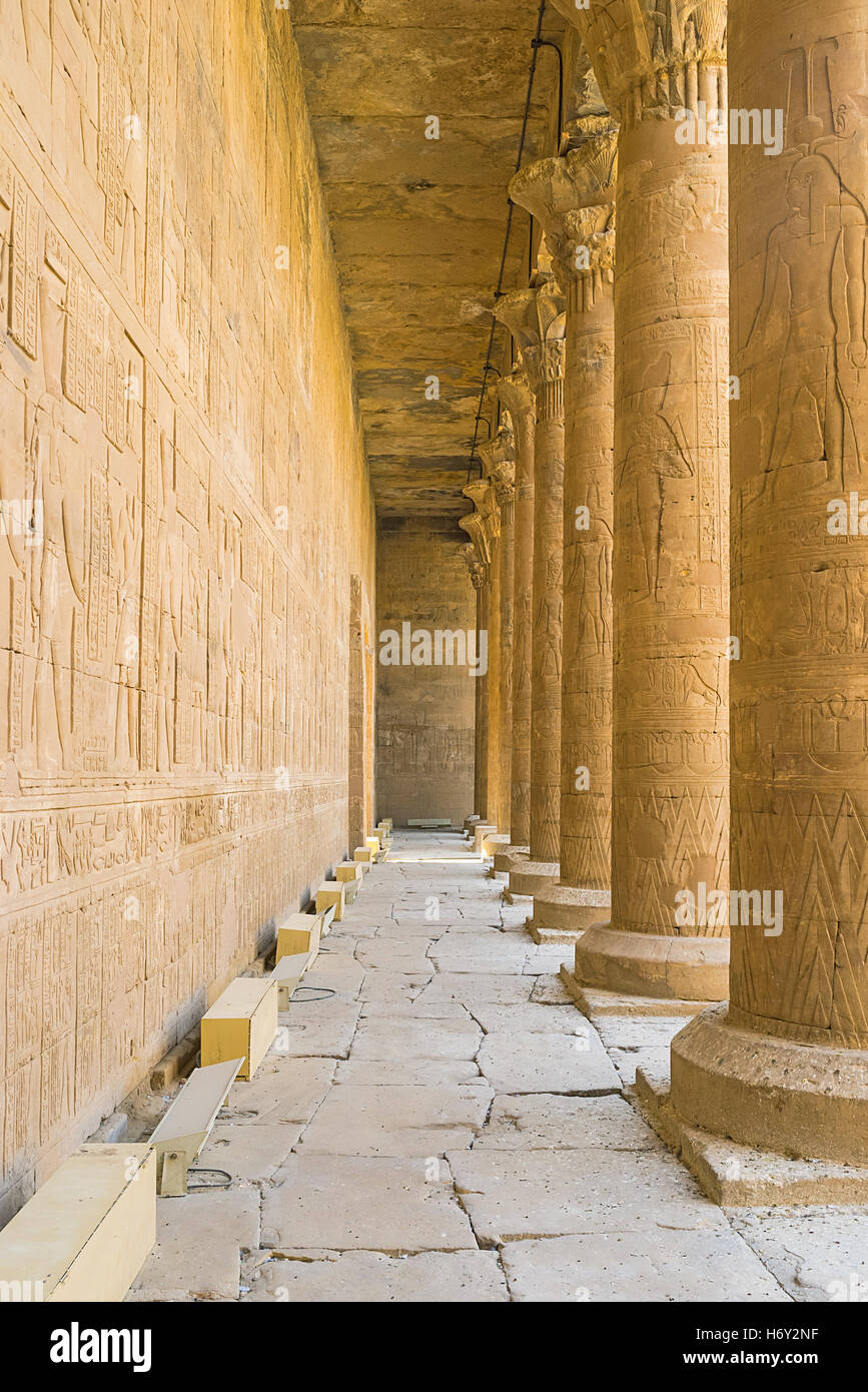 The stone walls and numerous columns in Horus Temple decorated by ...