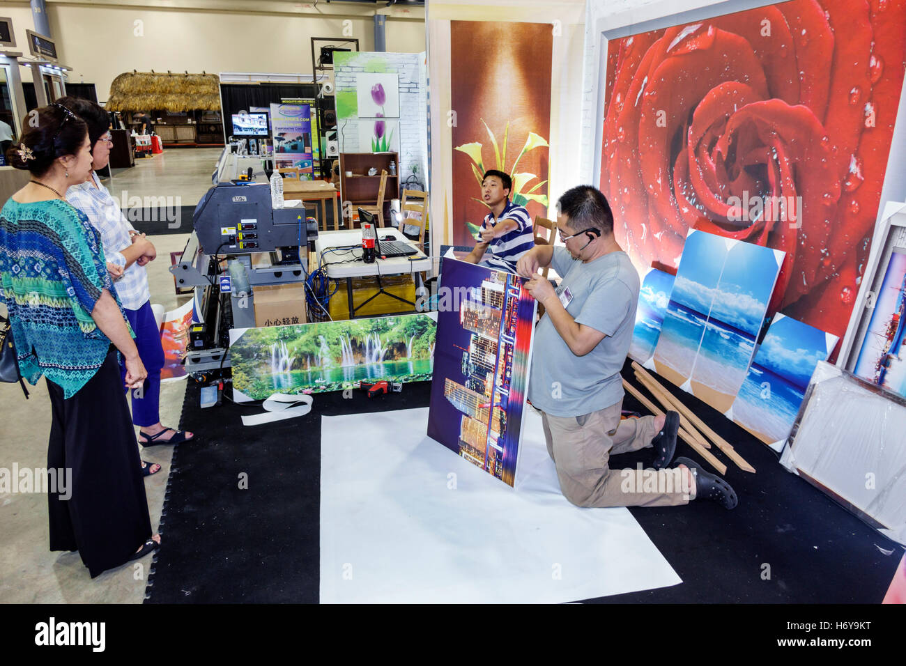 Florida Miami Beach Convention Center Centre Home Design And Remodeling Show  Photo Murals Printing Company Asian Woman Man Framing