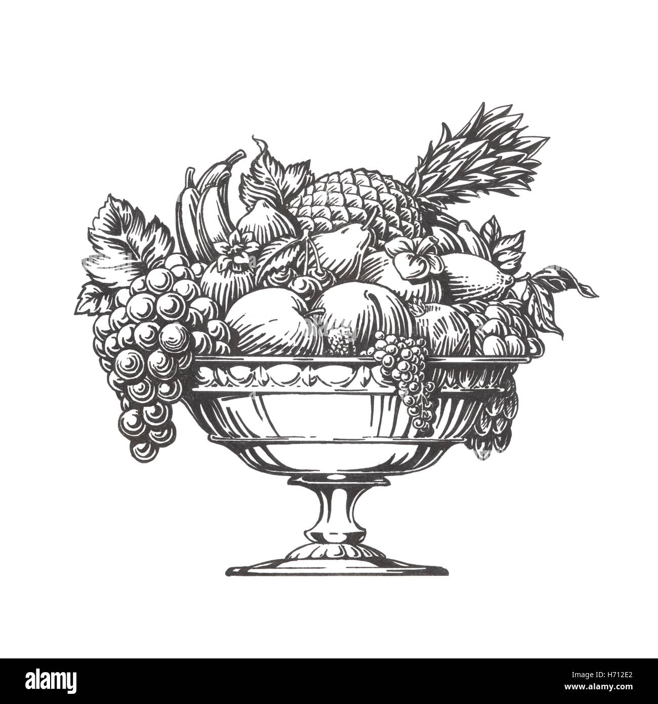 Fruit bowl coloring pictures - Stock Photo Vintage Fruit Bowl Hand Drawn Sketch Illustration