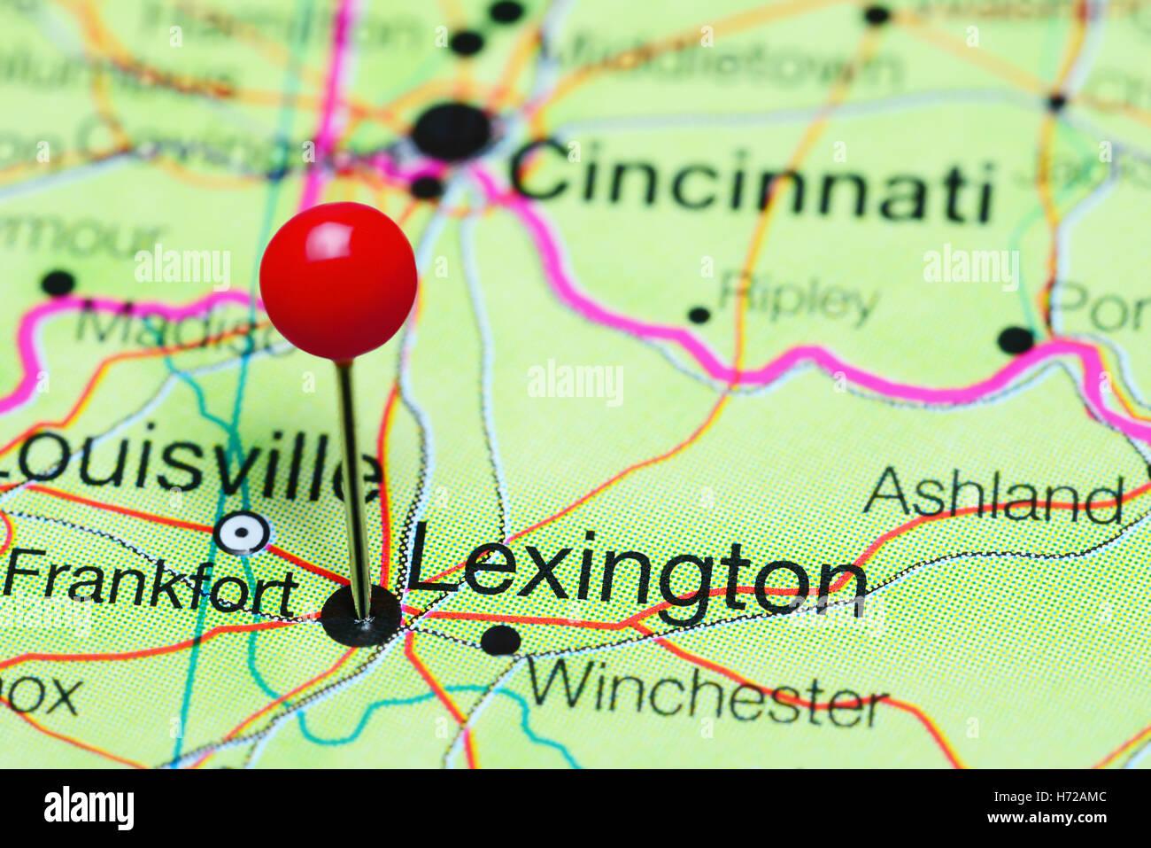 lexington pinned on a map of kentucky usa