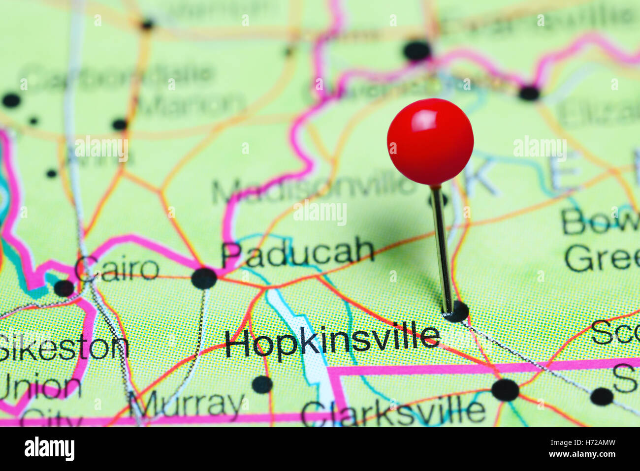 Hopkinsville pinned on a map of Kentucky USA Stock Photo Royalty