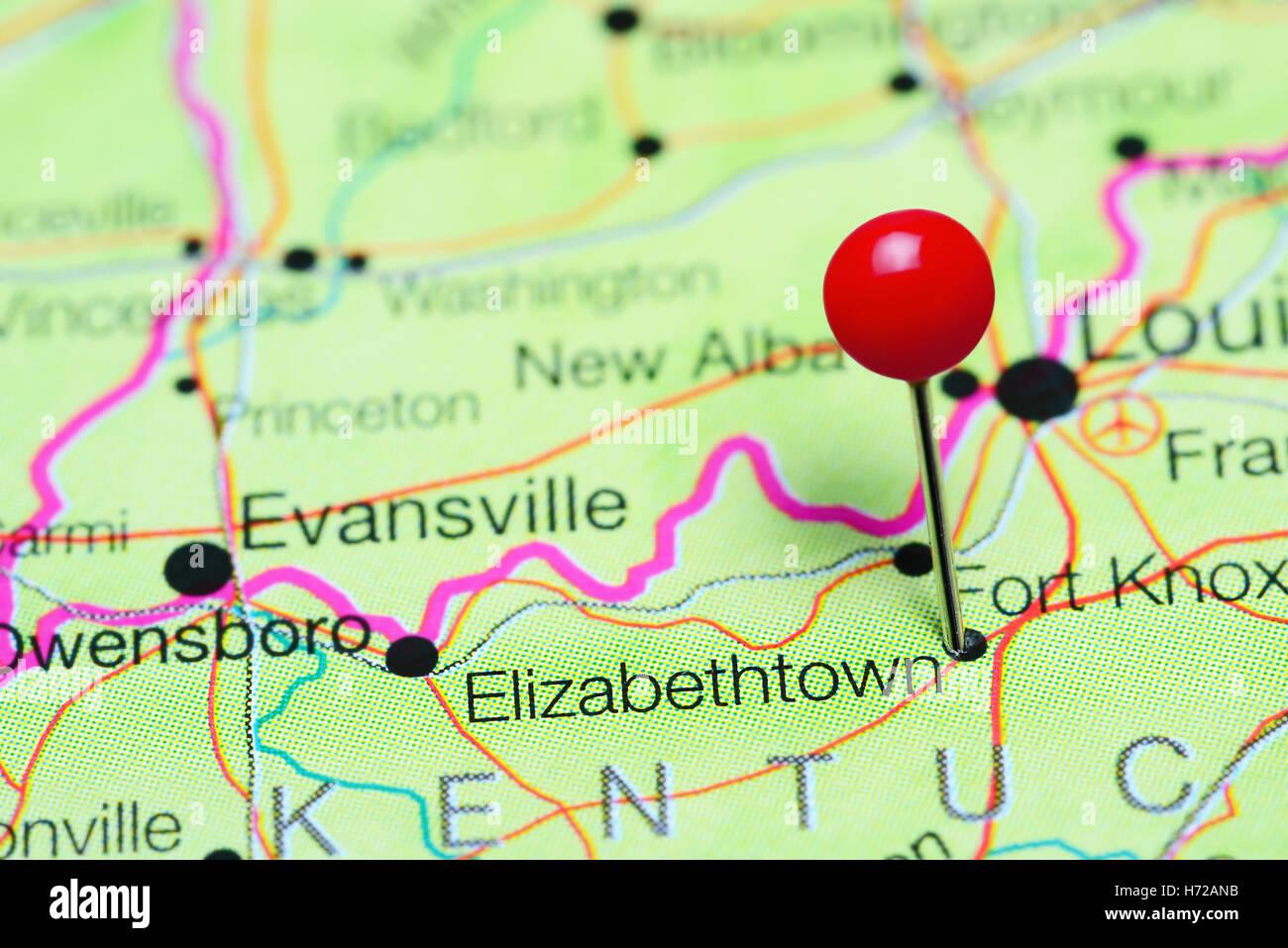 Elizabethtown pinned on a map of Kentucky USA Stock Photo Royalty