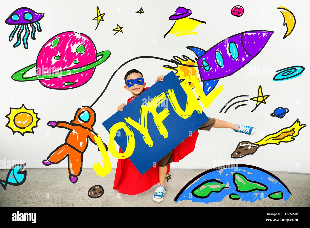 Kids Imagination Space Rocket Joyful Graphic Concept Stock