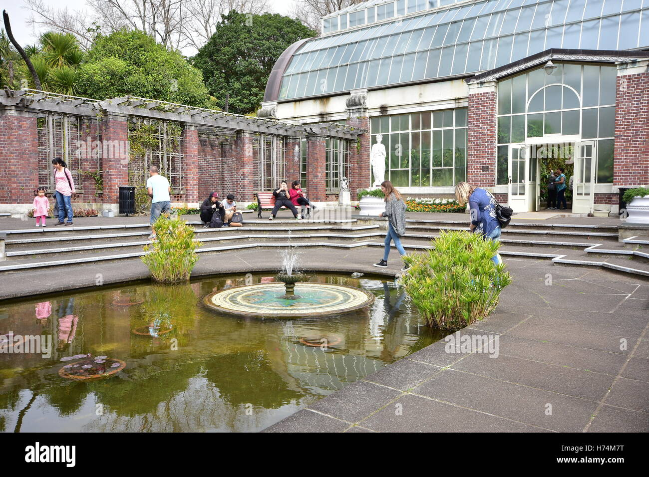 auckland domain wintergardens courtyard with fountains and a pond