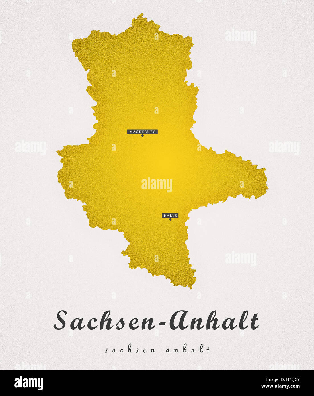Sachsen Anhalt Germany DE Art Map Stock Photo Royalty Free Image