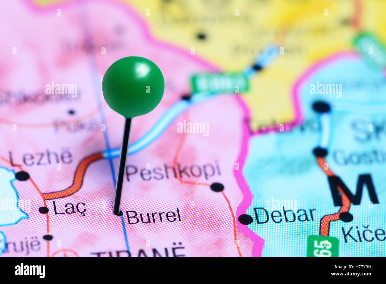 Burrel pinned on a map of Albania Stock Photo 124950661 Alamy