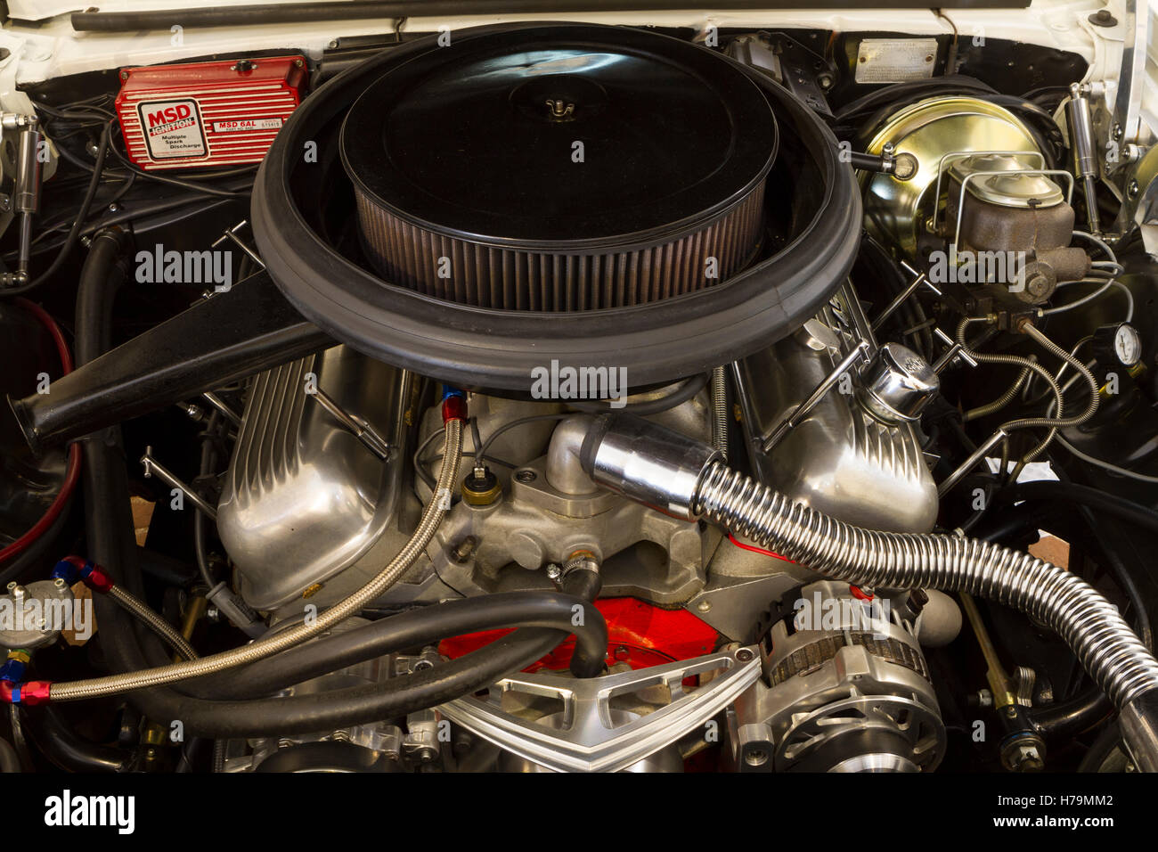 Car engine of a 1969 Chevrolet Camaro during Classic cars auction in ...