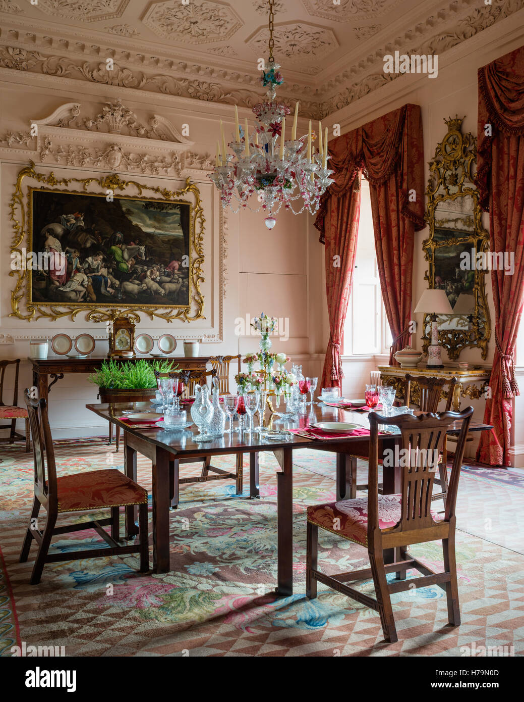 Murano Glass Chandelier With Artwork In Dining Room Of 18th Century  Dumfries House, Ayrshire, Scotland