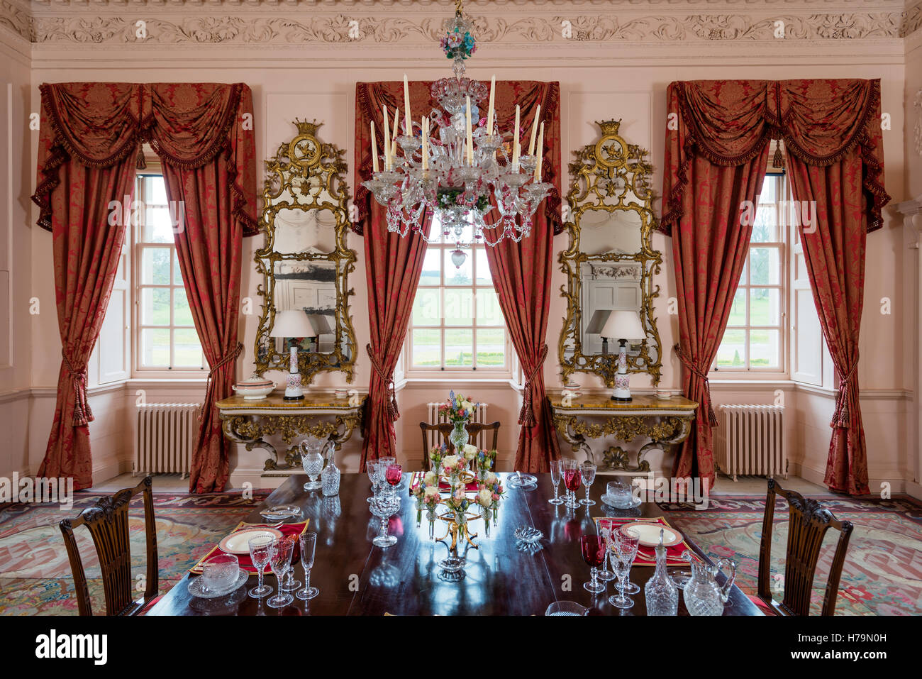 Murano Glass Chandelier In Dining Room Of 18th Century Dumfries House,  Ayrshire, Scotland