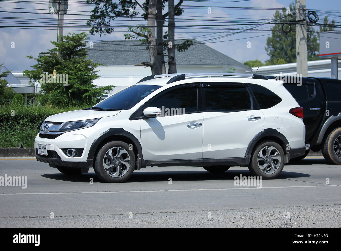 CHIANGMAI, THAILAND   OCTOBER 9 2016: Private New Suv Car, Honda BRV. On  Road No.1001, 8 Km From Chiangmai Business Area