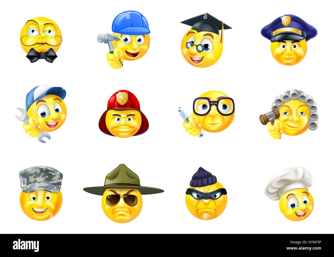 Professor And Policeman >> A set of emoji emoticon cartoon character face icons of different Stock Photo: 125006554 - Alamy