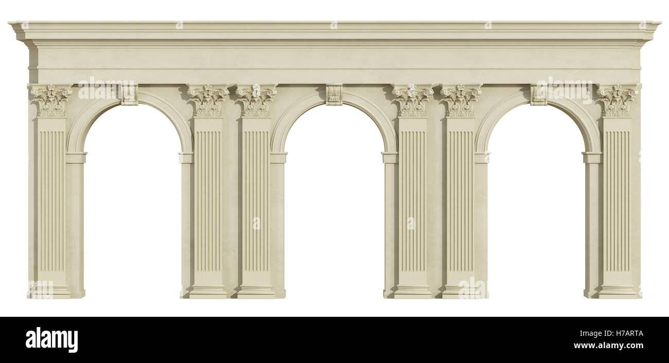 Classic Colonnade With Arch And Corinthian Column Isolated