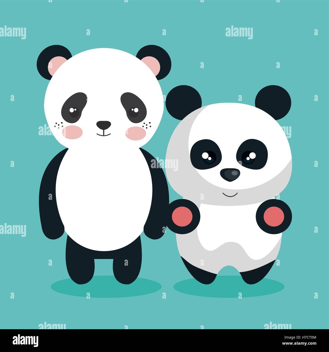 cute couple stuffed animals vector illustration design stock vector