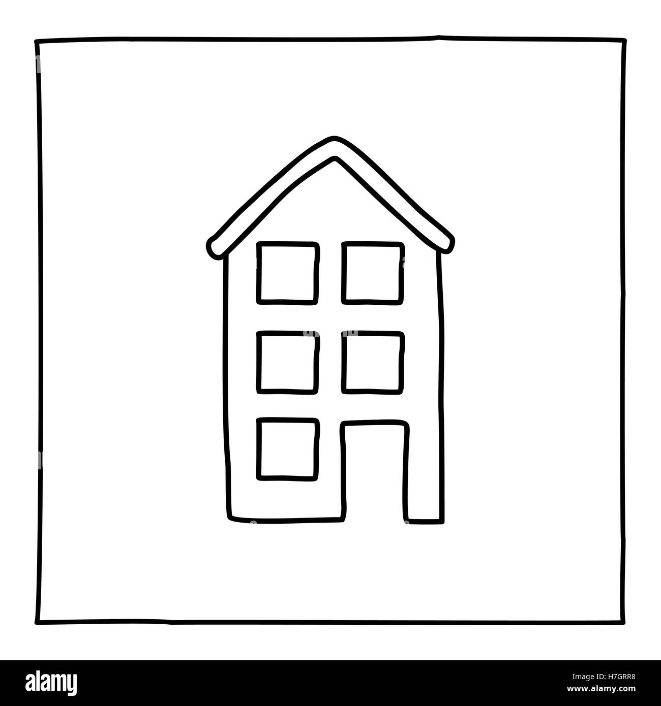 Apartment Building Graphic doodle apartment building icon. black and white symbol with frame