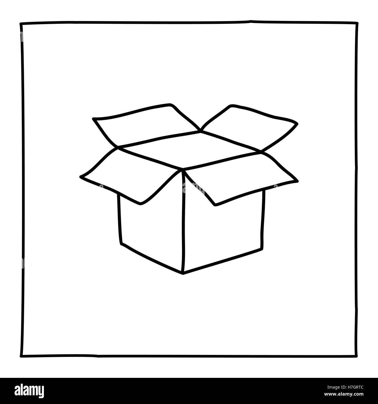 Single Line Box Art : Doodle open box icon black and white symbol with frame
