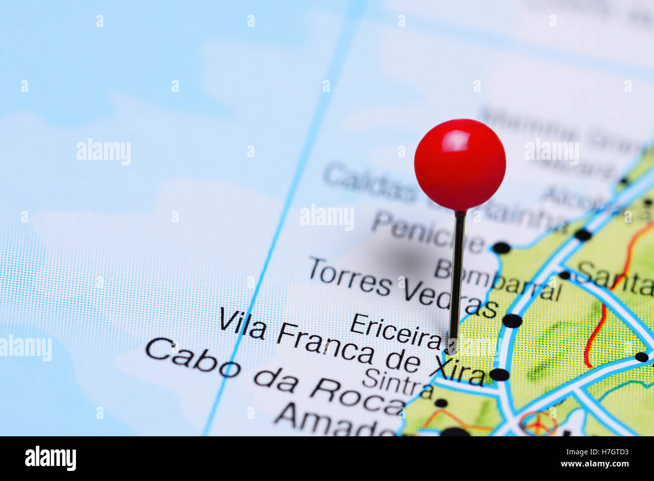 Ericeira Pinned On A Map Of Portugal Stock Photo Royalty Free - Portugal map ericeira