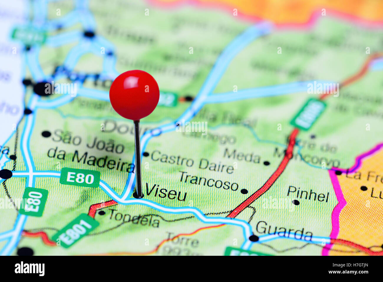 Viseu Pinned On A Map Of Portugal Stock Photo Royalty Free Image - Portugal map viseu