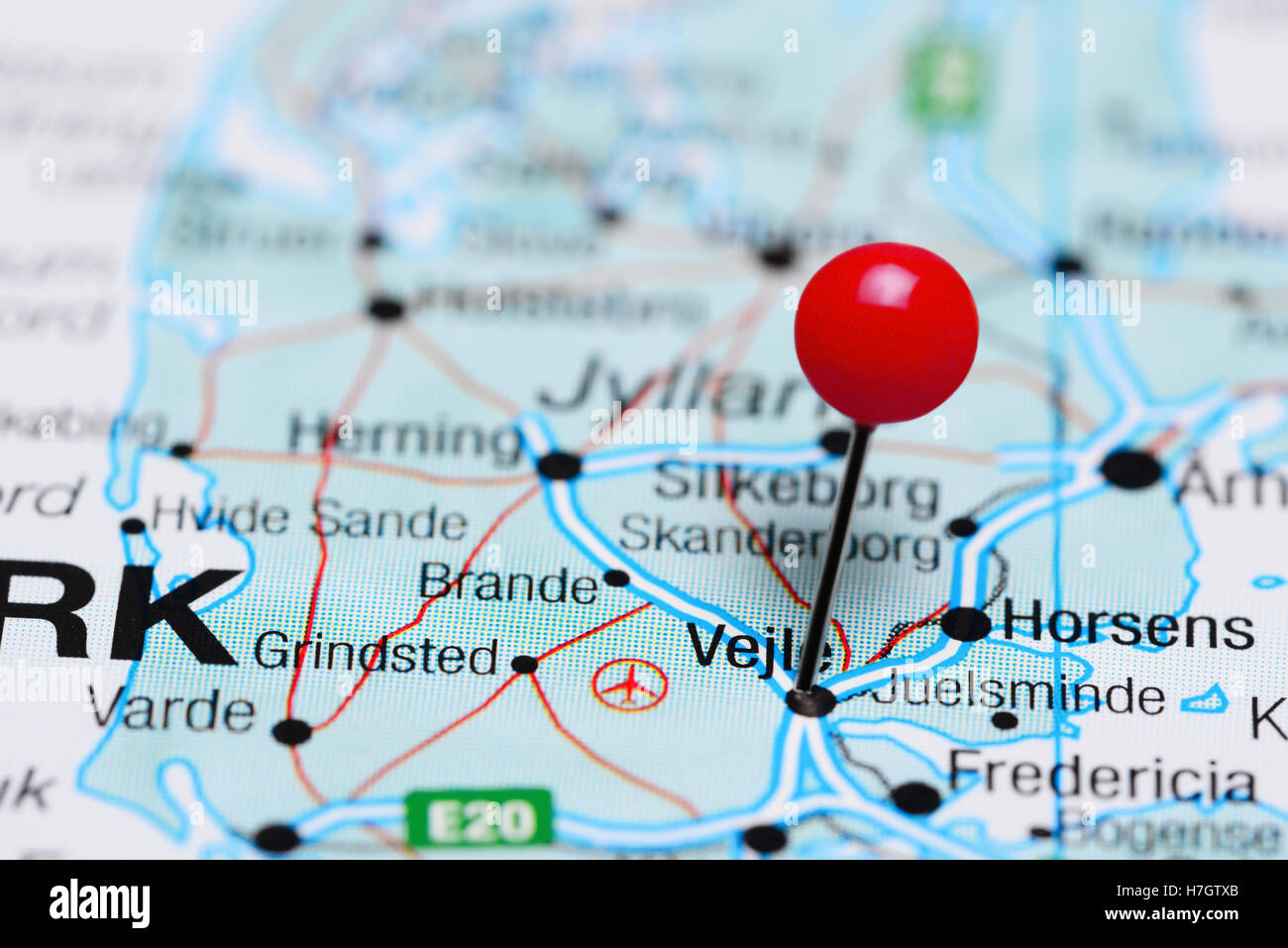 Vejle pinned on a map of Denmark Stock Photo Royalty Free Image