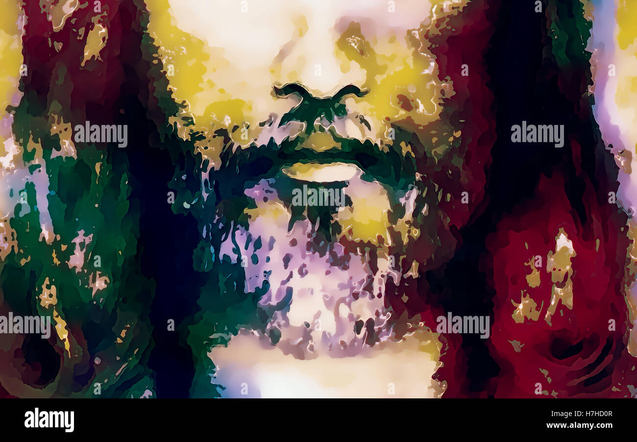detail of jesus face abstract colorful collage stock photo
