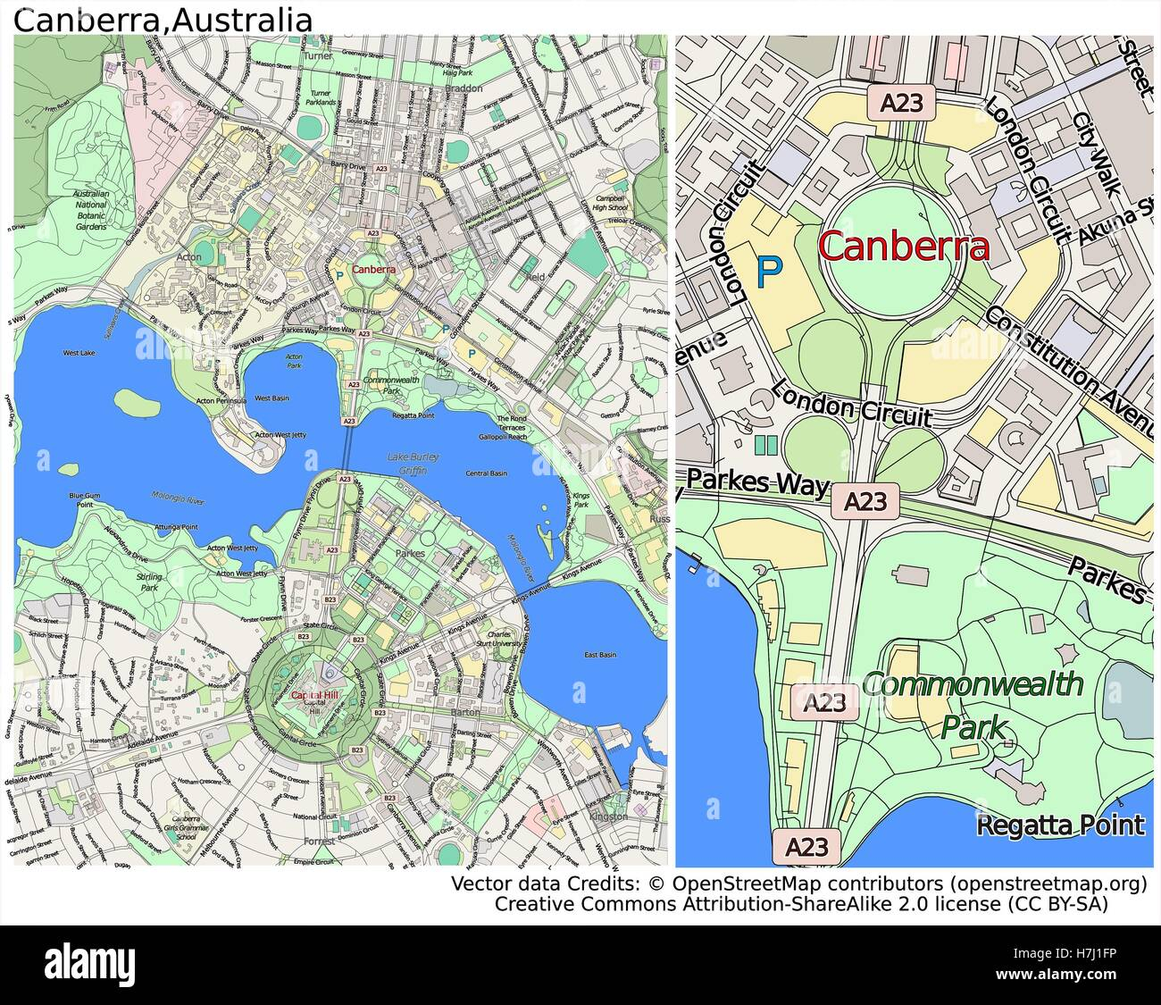 Canberra Australia aerial view city map Stock Photo Royalty Free Image 1251