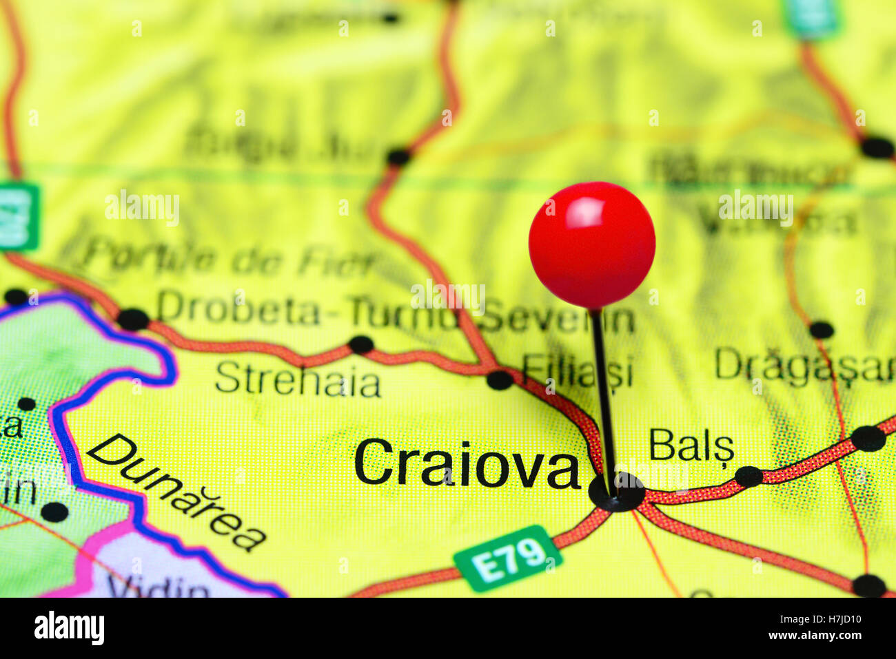 Craiova pinned on a map of Romania Stock Photo Royalty Free Image