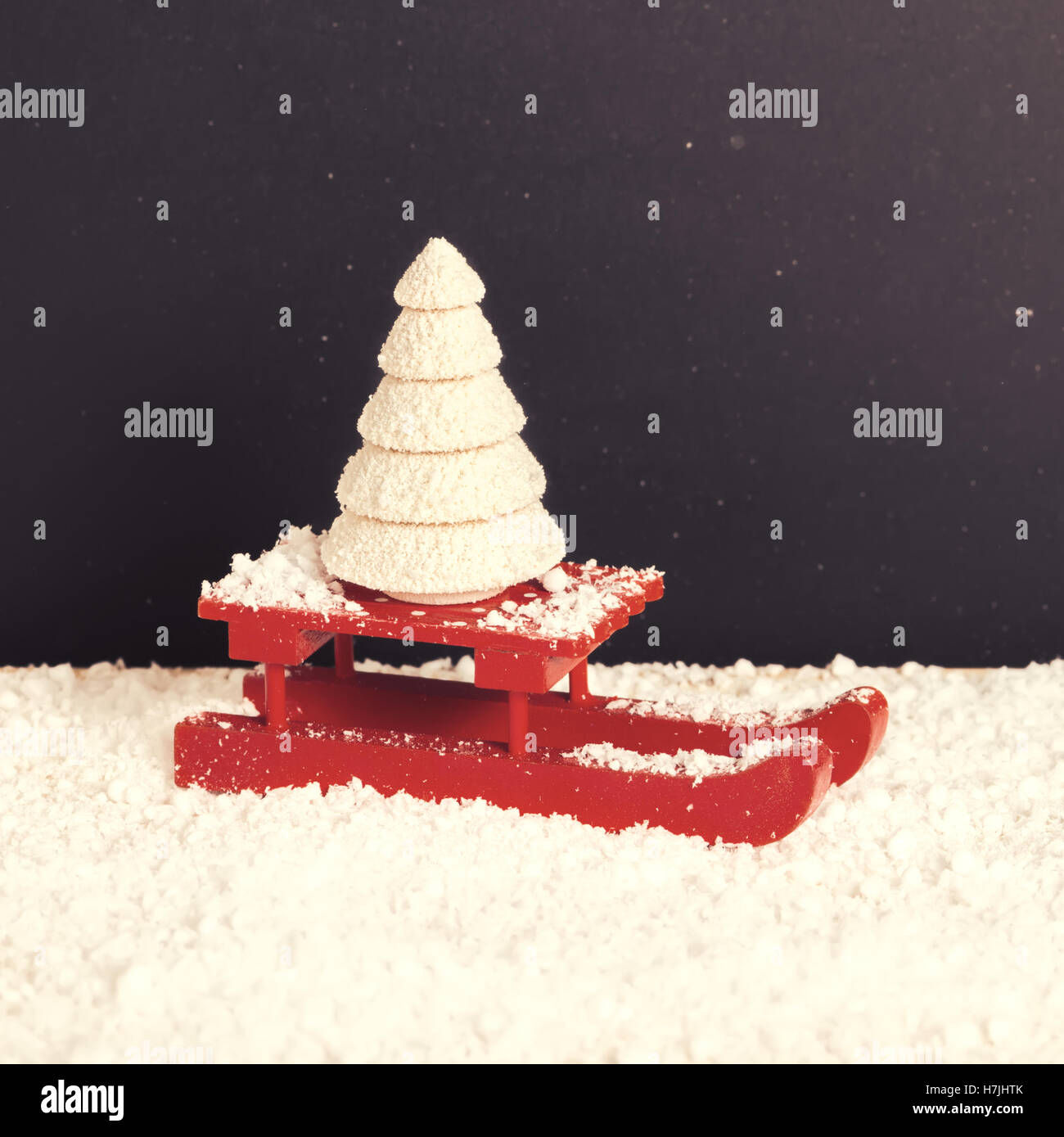Red festive sled with spruce tree in snow on chalkboard background red festive sled with spruce tree in snow on chalkboard background christmas or new year celebrating symbols close up biocorpaavc Image collections