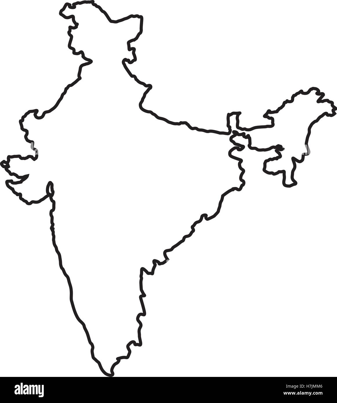Silhouette Of Republic Of India Country Map Icon Over White Stock - India map vector