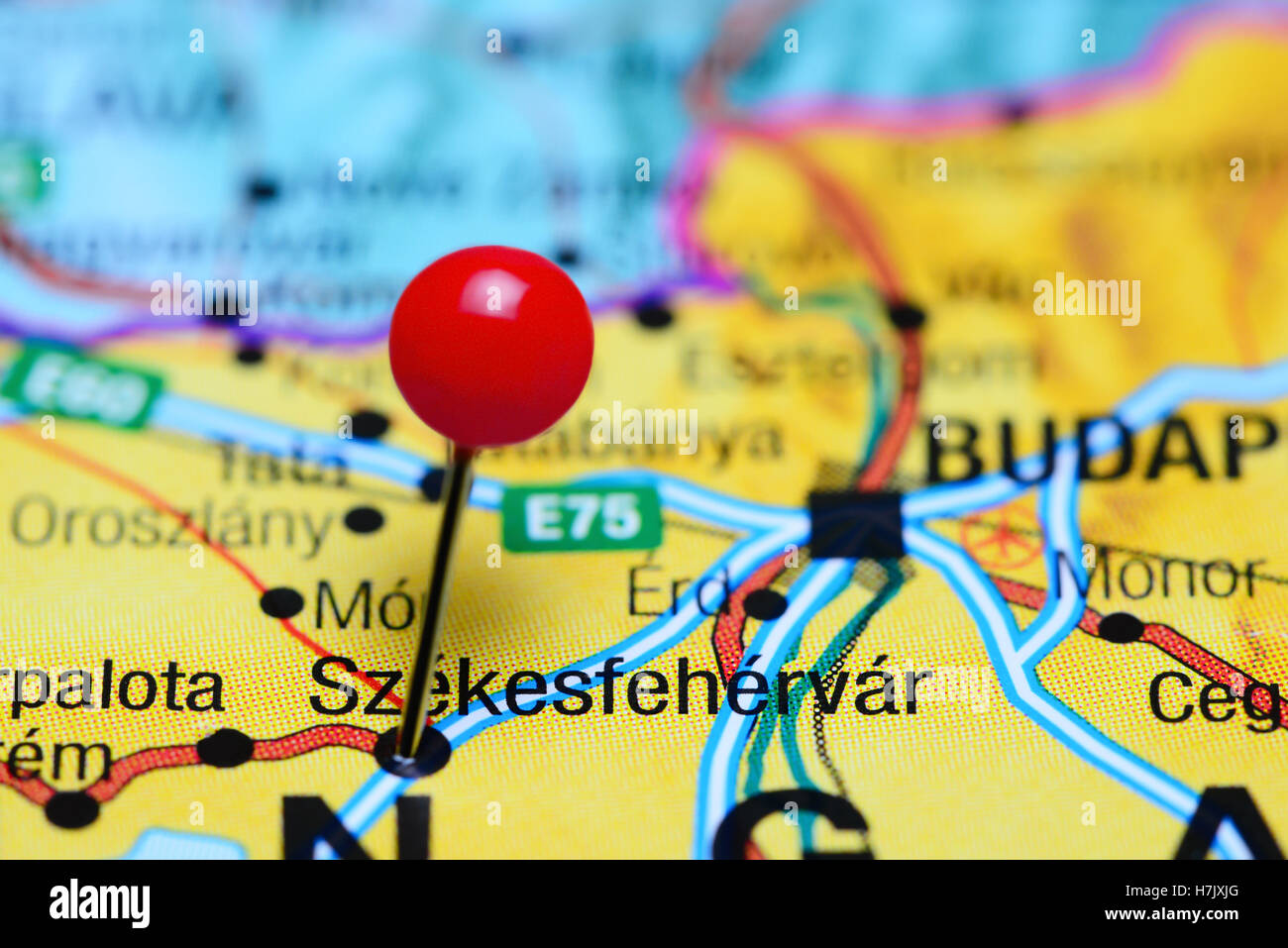 Szekesfehervar pinned on a map of Hungary Stock Photo 125191208 Alamy
