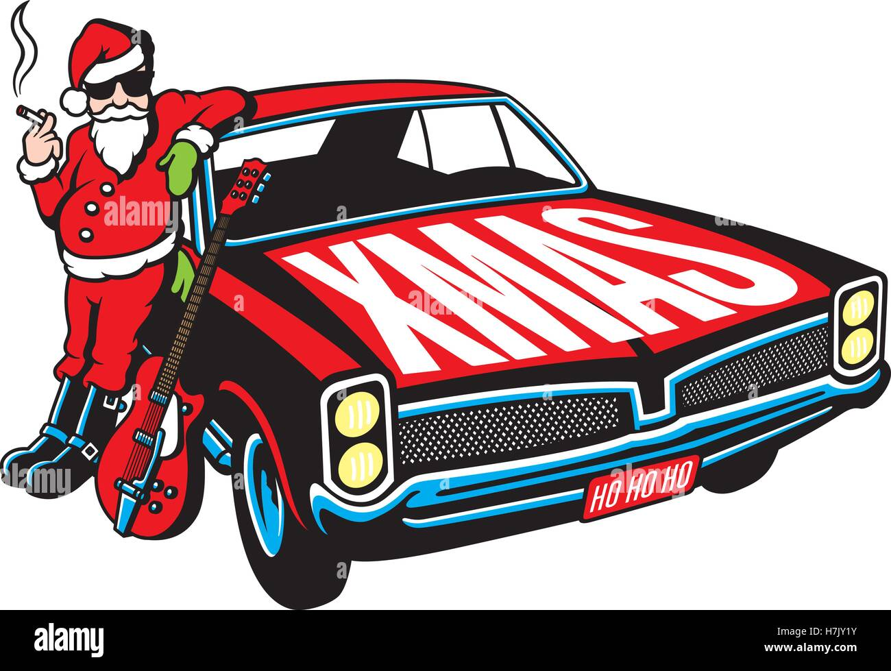 Rock And Roll Santa Claus Vector Illustration With Vintage Muscle - Cool car cartoon
