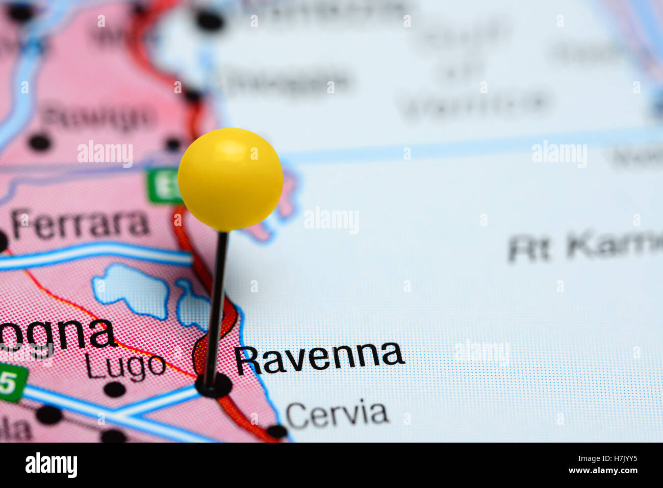 Ravenna pinned on a map of Italy Stock Photo Royalty Free Image
