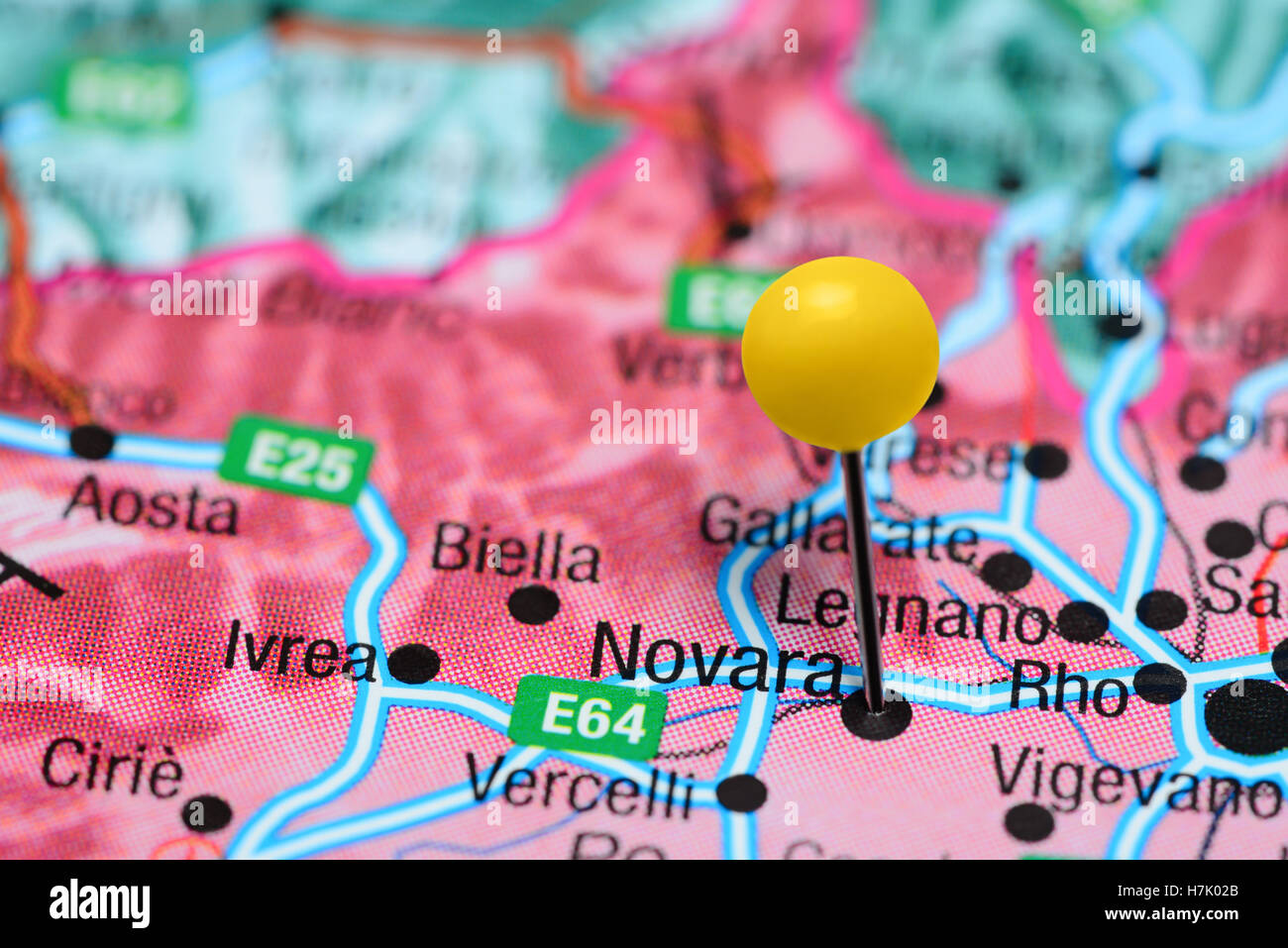 Novara pinned on a map of Italy Stock Photo Royalty Free Image