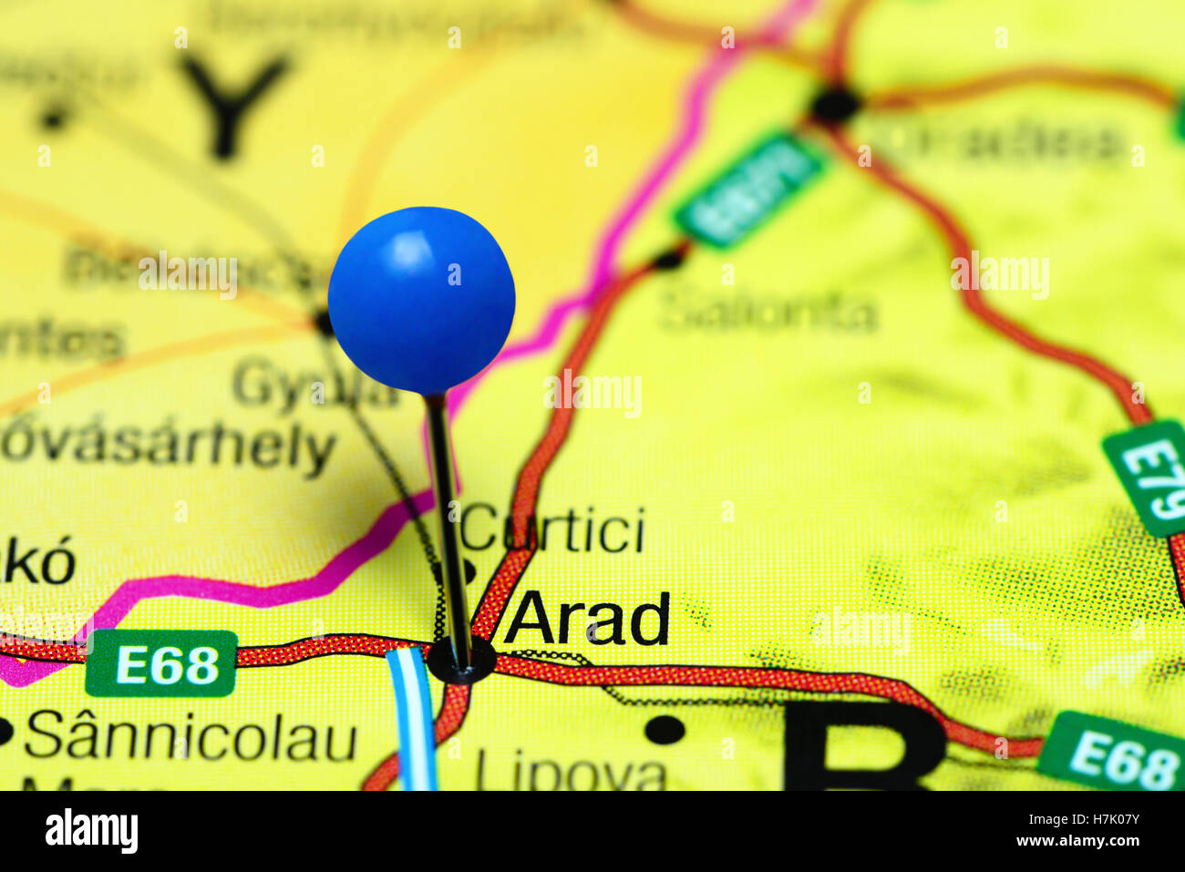 Arad pinned on a map of Romania Stock Photo Royalty Free Image