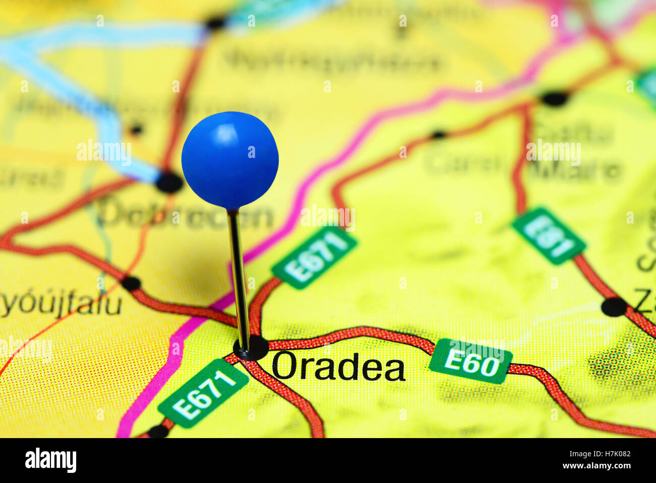 Oradea pinned on a map of Romania Stock Photo Royalty Free Image