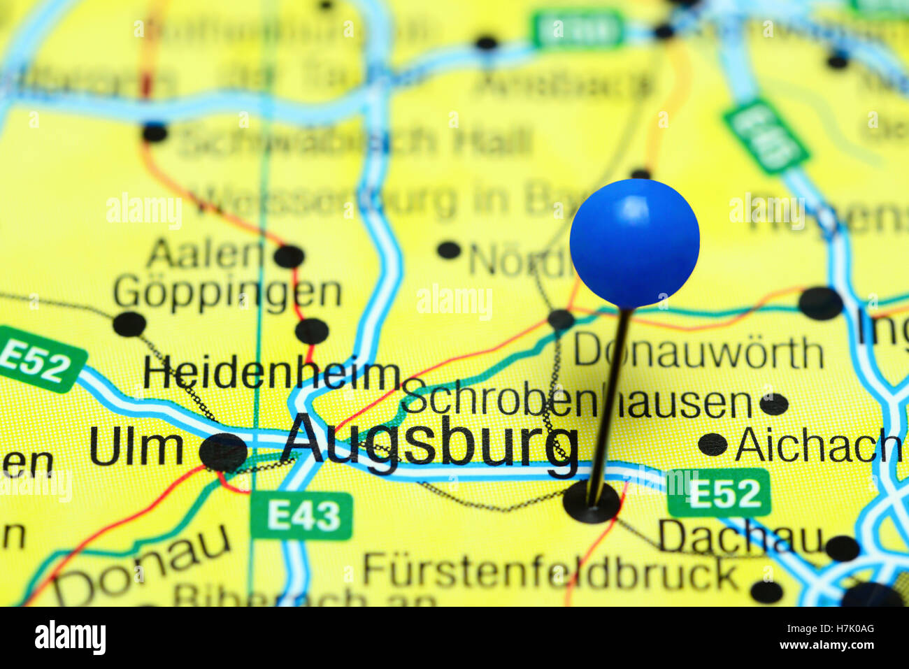 Augsburg pinned on a map of Germany Stock Photo Royalty Free Image