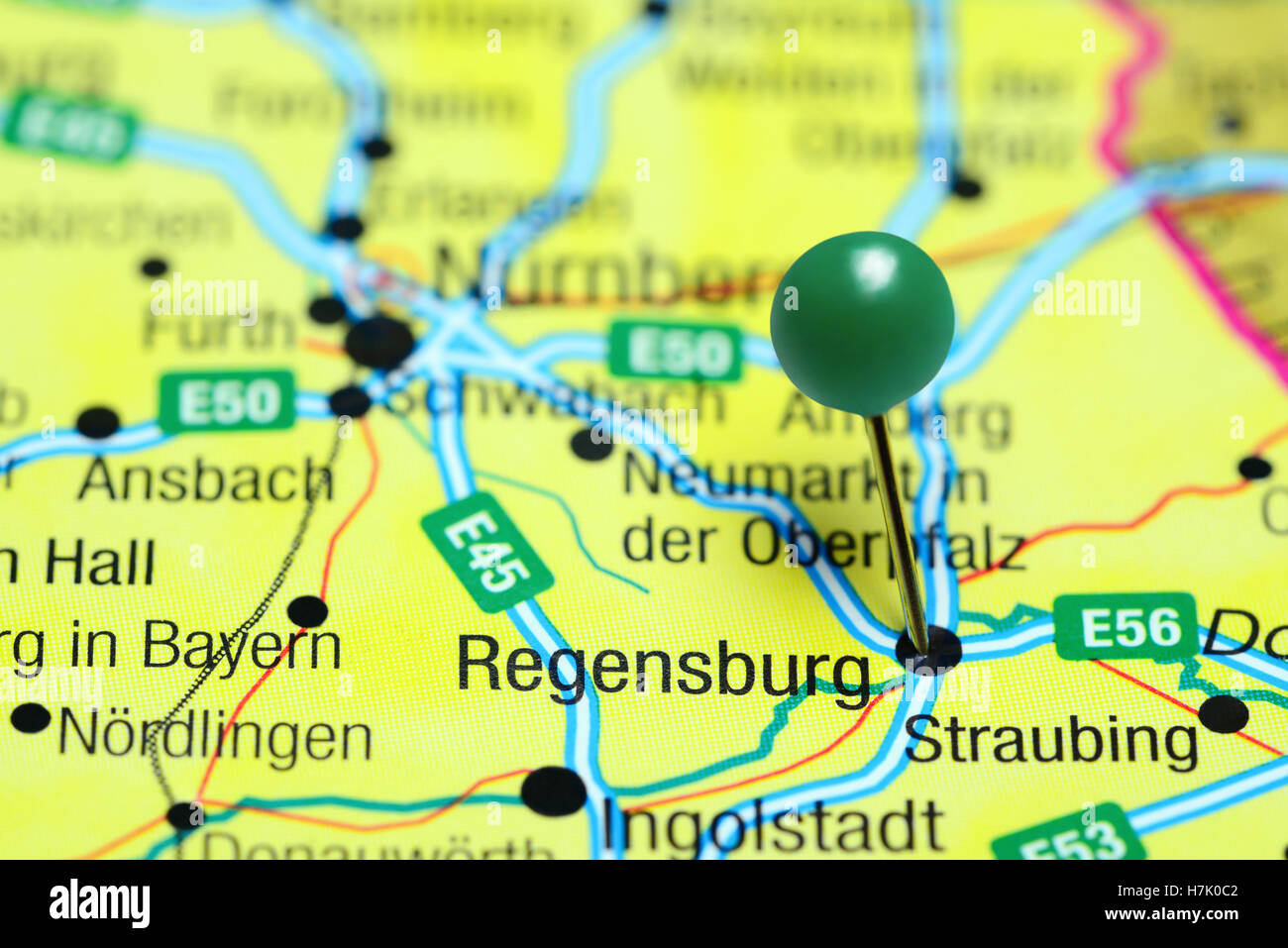 Regensburg Pinned On A Map Of Germany Stock Photo Royalty Free - Regensburg map