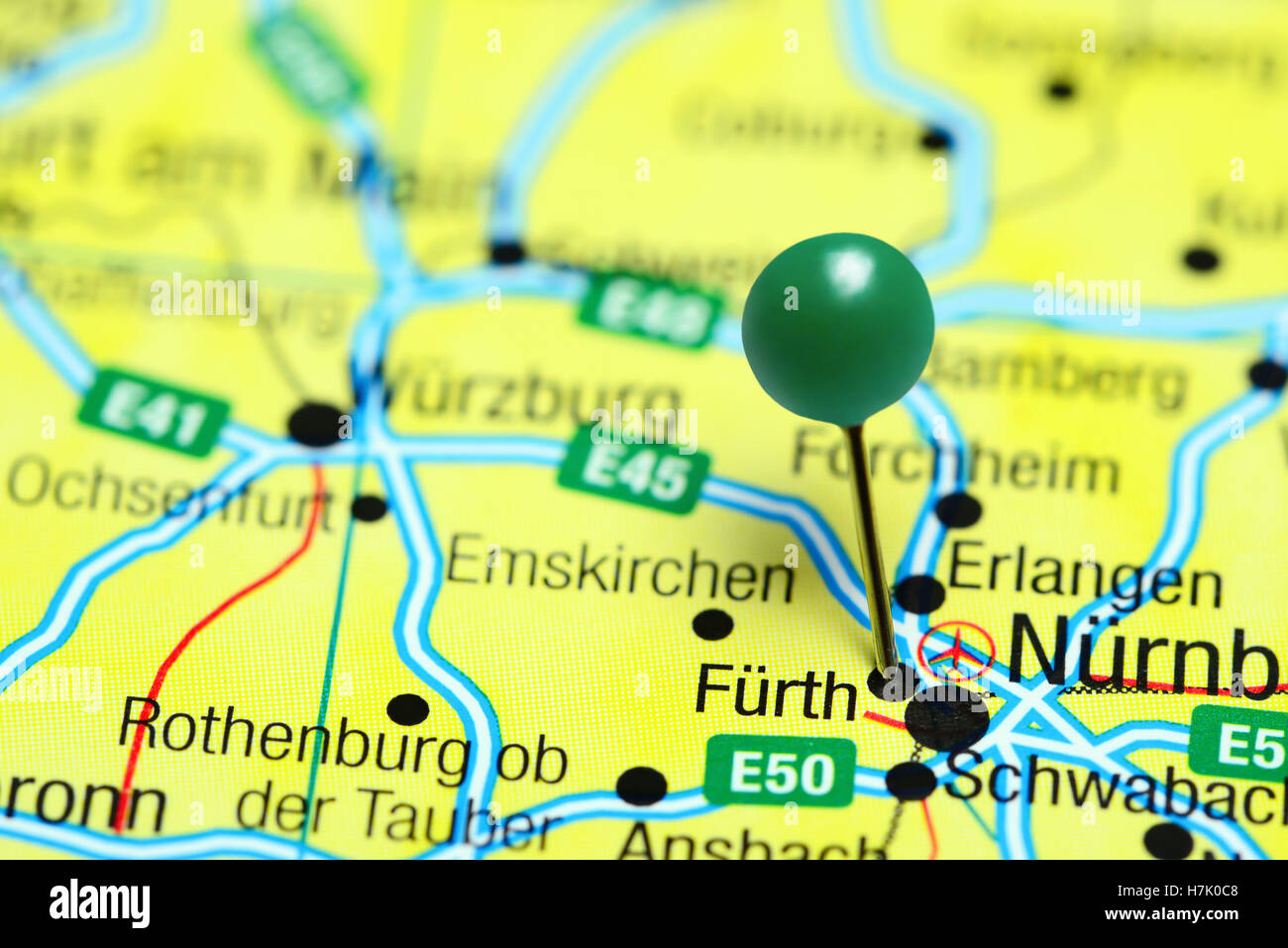 Fuerth pinned on a map of Germany Stock Photo 125192600 Alamy