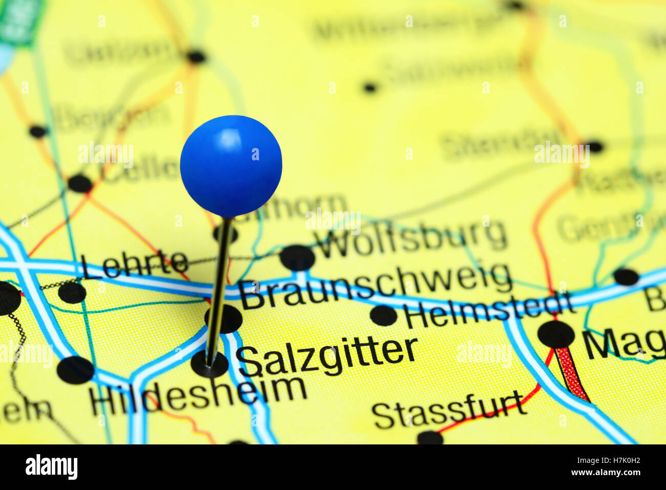 Salzgitter pinned on a map of Germany Stock Photo Royalty Free