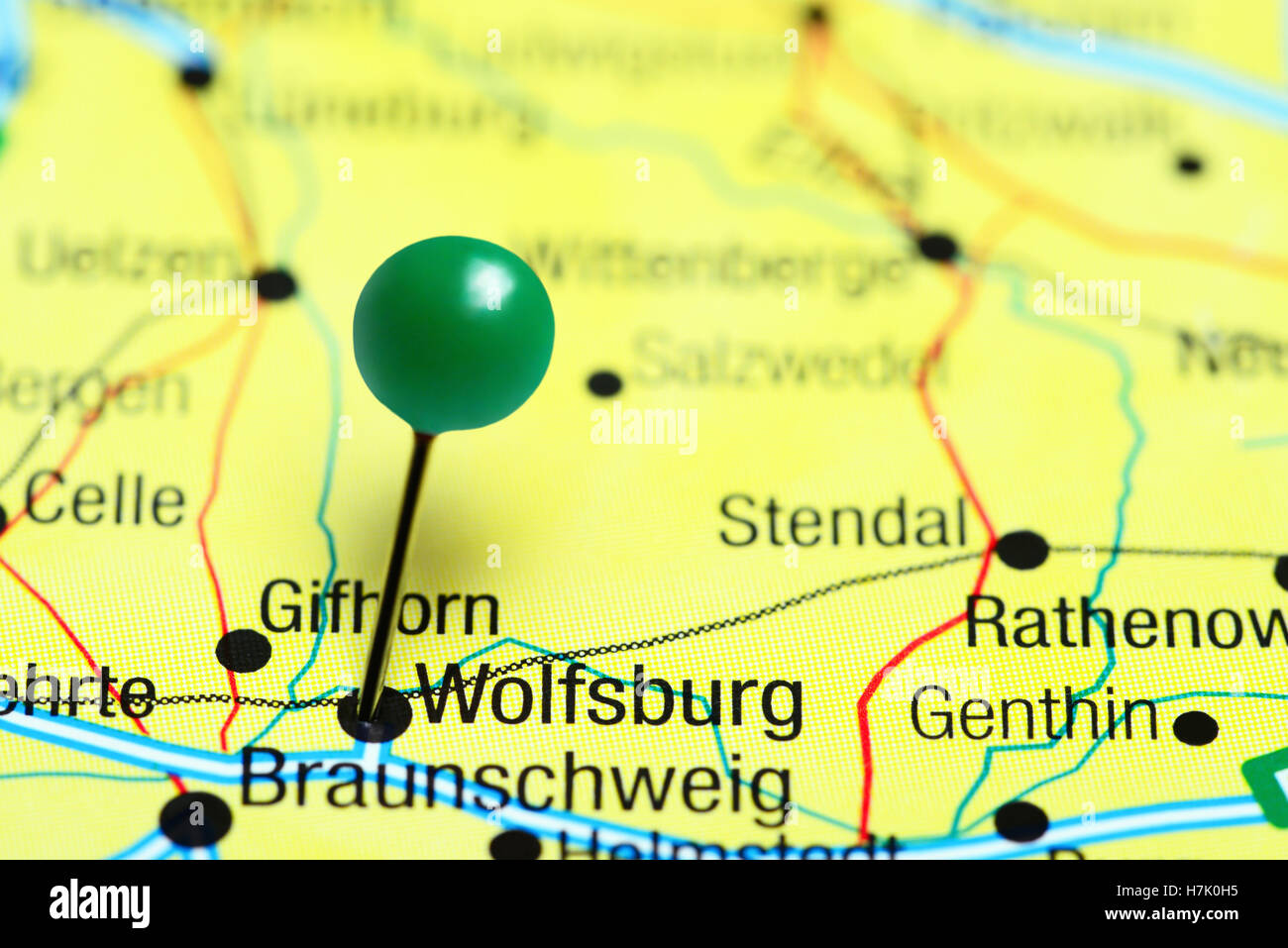 Wolfsburg pinned on a map of Germany Stock Photo Royalty Free Image