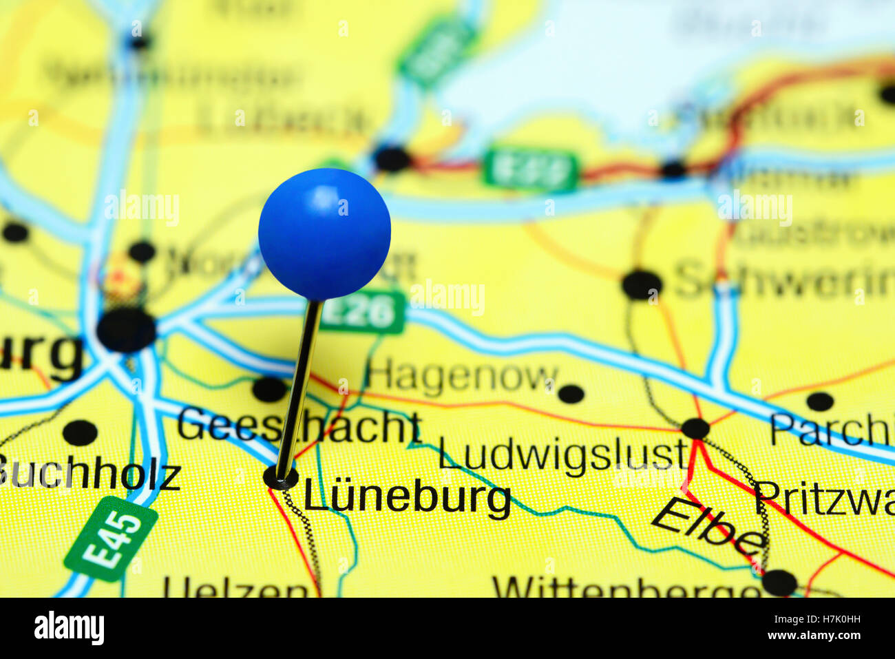 Luneburg Pinned On A Map Of Germany Stock Photo Royalty Free - Luneburg germany map
