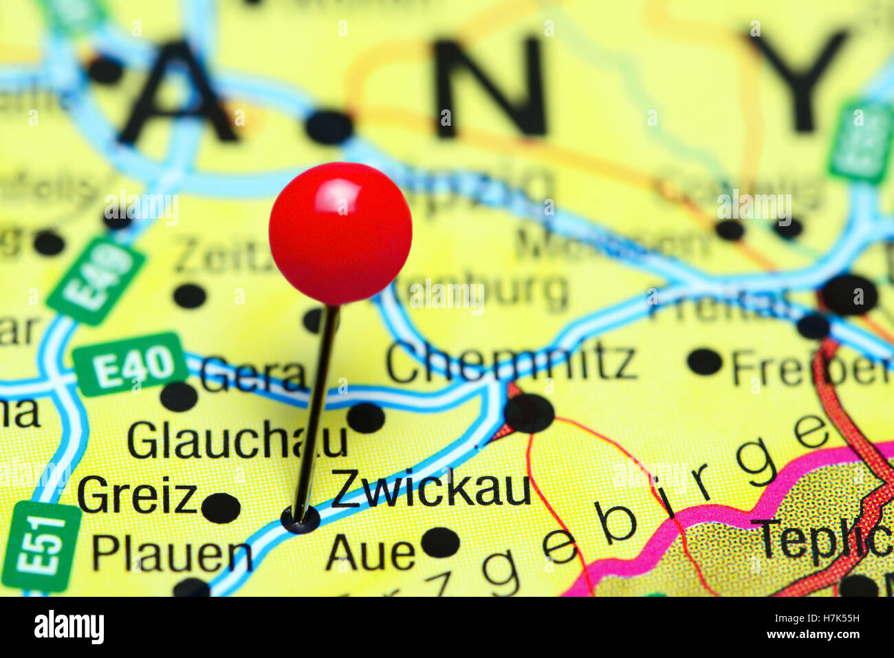 Zwickau pinned on a map of Germany Stock Photo Royalty Free Image
