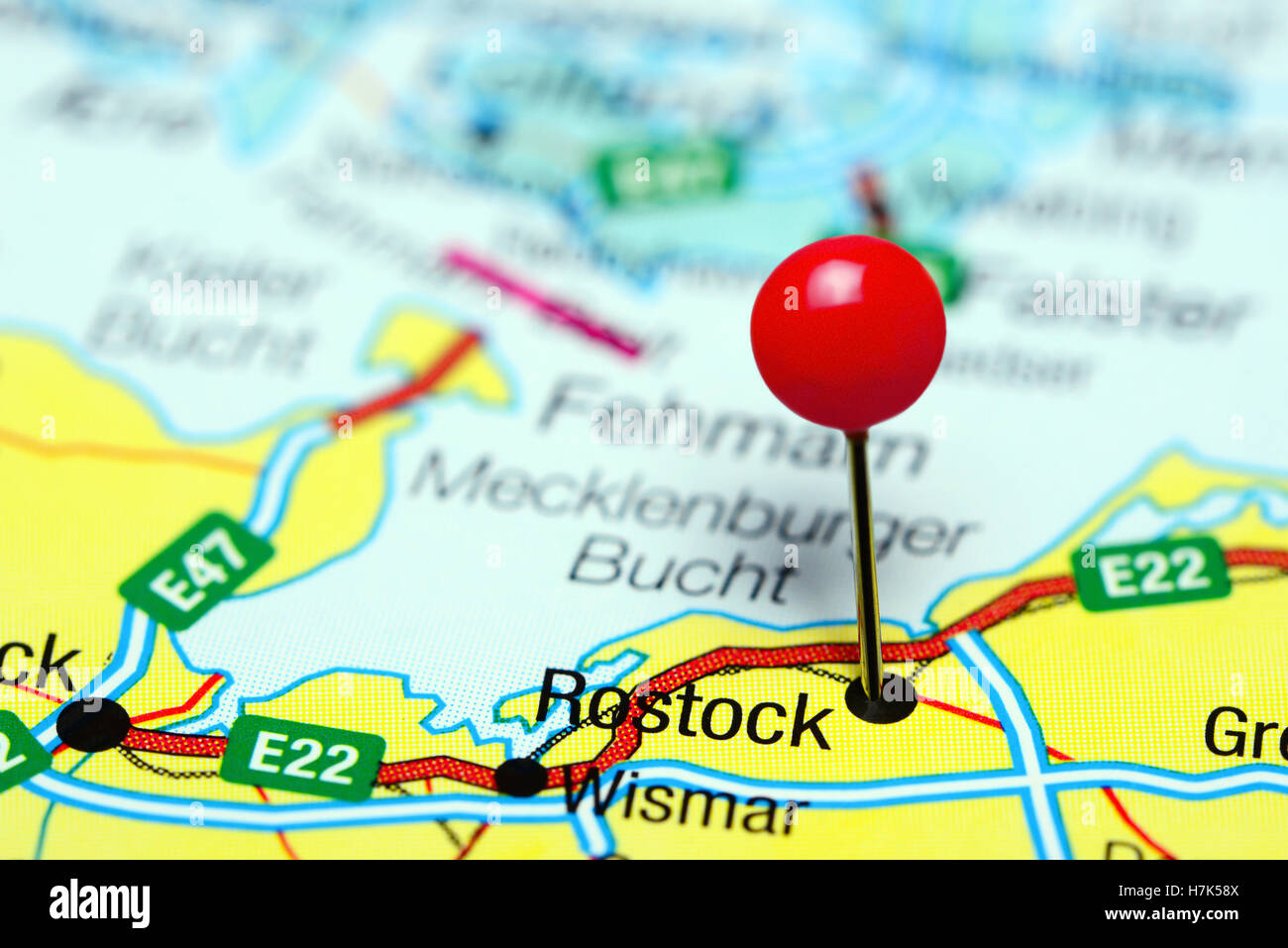 Rostock pinned on a map of Germany Stock Photo Royalty Free Image