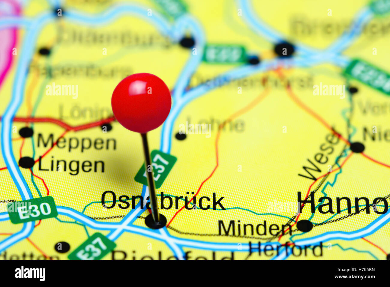 Osnabruck pinned on a map of Germany Stock Photo Royalty Free Image
